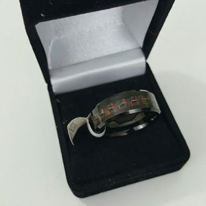 Other - Mens Titanium Wedding Band Black Red